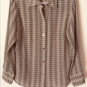 🔥REDUCED🌟Talbots Silk Blouse Brown 12 Petite